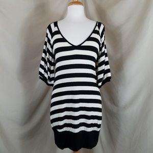 🌻 True Light Striped Cold Shoulder Dress